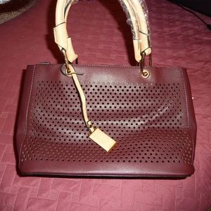 Handbag Dark Wine Red Cut-Out Front With Strap NWT